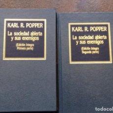 Libros de segunda mano: KARL R. POPPER: LA SOCIEDAD ABIERTA Y SUS ENEMIGOS (2 TOMOS). Lote 195303906