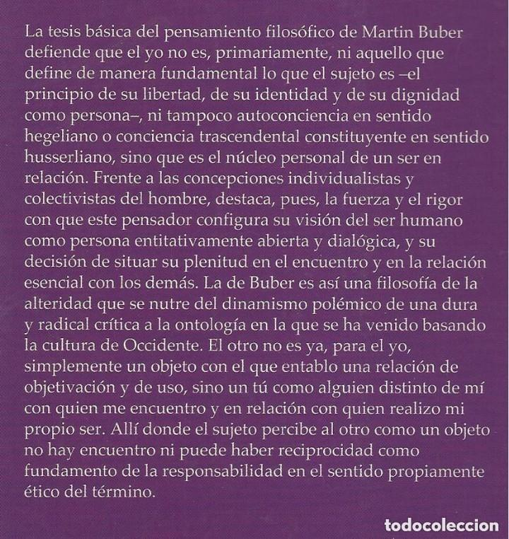Libros de segunda mano: FILOSOFIA MARTIN BUBER, Diego Sánchez Meca, HERDER ED - Foto 2 - 195362386