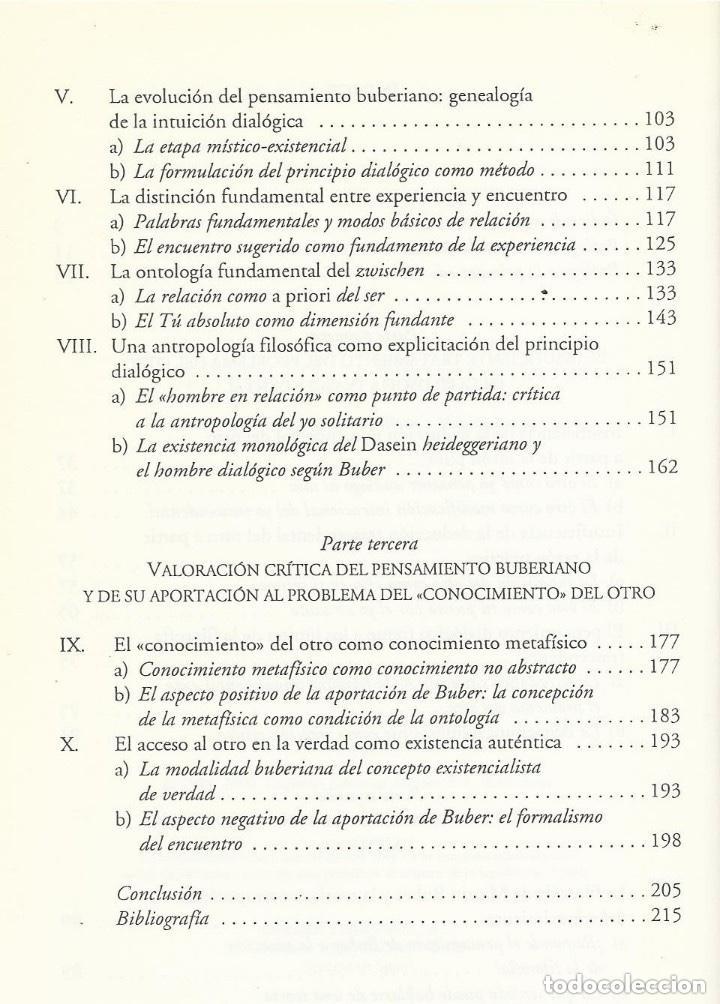 Libros de segunda mano: FILOSOFIA MARTIN BUBER, Diego Sánchez Meca, HERDER ED - Foto 4 - 195362386