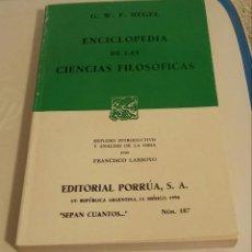 Libros de segunda mano: ENCICLOPEDIA DE LAS CIENCIAS FILOSÓFICAS. HEGEL, G. W. F.. Lote 195407331