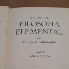 Libros de segunda mano: CURSO DE FILOSOFÍA ELEMENTAL TOMO 1 PRIMERA EDICIÓN 1925. Lote 195634625