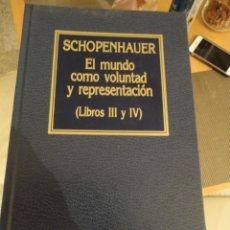 Libri di seconda mano: EL MUNDO COMO VOLUNTAD Y REPRESENTACIÓN. SCHOPENHAUER. ORBIS. Nº 71. HISTORIA DEL PENSAMIENTO.. Lote 198169966