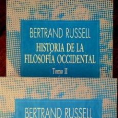Libros de segunda mano: HISTORIA DE LA FILOSOFÍA OCCIDENTAL. TOMOS I Y II. BERTRAND RUSSELL. Lote 199127042