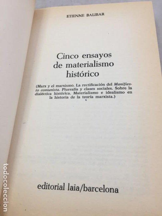 Libros de segunda mano: CINCO ENSAYOS DE MATERIALISMO HISTÓRICO, editorial Laia 1976 - Foto 4 - 200815442