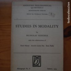 Libros de segunda mano: NICHOLAS RESCHER STUDIES IN MODALITY AMERICAN PHILOSOPHICAL QUARTERLY. Lote 201910536