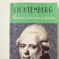 Libros de segunda mano: AFORISMOS, OCURRENCIAS Y OPINIONES - LICHTENBERG - ED. VALDEMAR 2000. Lote 206490125
