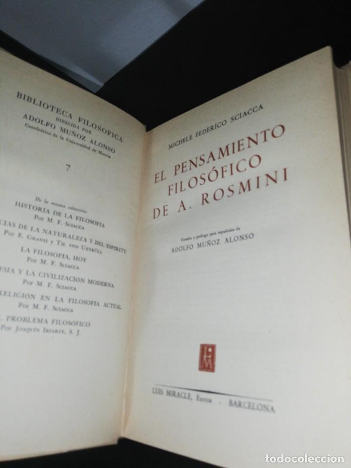 Libros de segunda mano: M. F. Sciacca, el pensamiento filosófico de rosmini - Foto 4 - 206943237