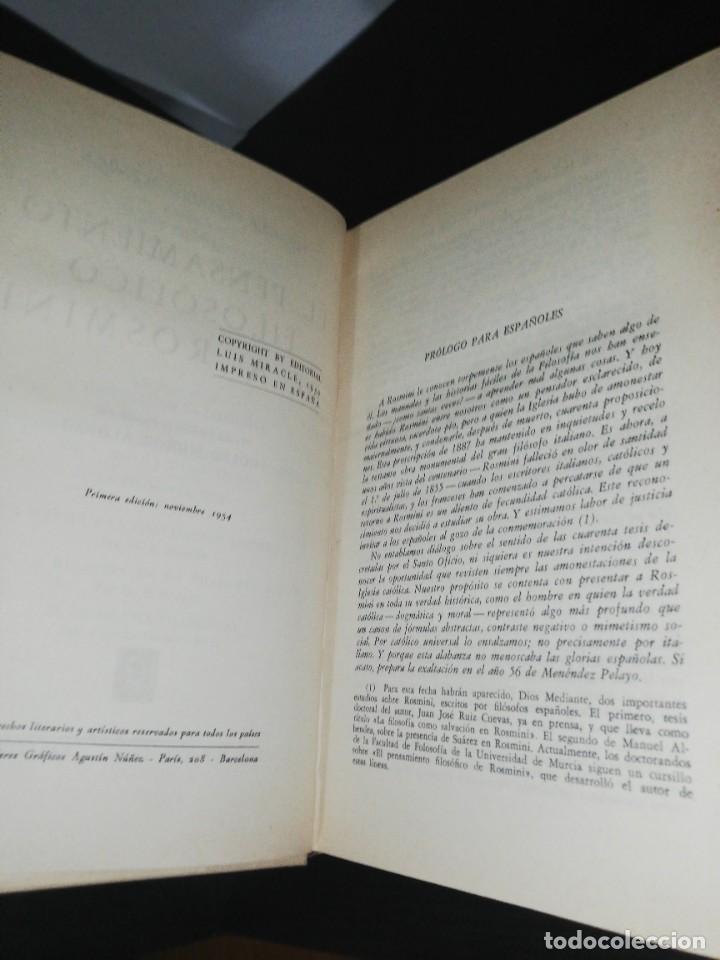 Libros de segunda mano: M. F. Sciacca, el pensamiento filosófico de rosmini - Foto 5 - 206943237