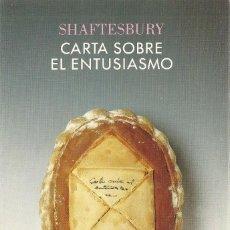 Libros de segunda mano: SHAFTESBURY - CARTA SOBRE EL ENTUSIASMO. Lote 207263837