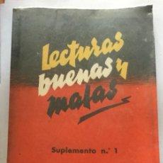Libros de segunda mano: LECTURAS BUENAS Y MALAS - SUPLEMENTO N° 1 Y 2 - GARNENDIA DE OTAOLA - 1950 - 168 Y 242P.. Lote 207727317