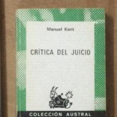 Libros de segunda mano: CRITICA DEL JUICIO, MANUEL KANT. Lote 209102690