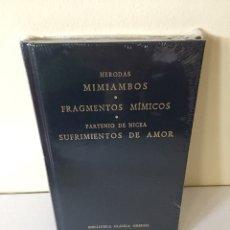 Libros de segunda mano: LIBRO BIBLIOTECA CLÁSICA GREDOS, CLÁSICOS DE GRECIA Y ROMA, VOL. 44. HERODAS Y PARTENIO DE NICEA.. Lote 210618870