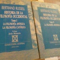 Libri di seconda mano: BERTRAND RUSSELL. HISTORIA DE LA FILOSOFÍA OCCIDENTAL (2 TOMOS) ED. ESPASA CALPE,. Lote 210672084