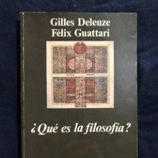Livros em segunda mão: ¿QUÉ ES LA FILOSOFÍA? - GILLES DELEUZE / FÉLIX GUATTARI. Lote 211507719