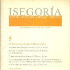 Libros de segunda mano: ISEGORÍA - REVISTA DE FILOSOFÍA MORAL Y POLÍTICA Nº 5 (1992). Lote 214197677