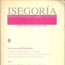 Libros de segunda mano: ISEGORÍA - REVISTA DE FILOSOFÍA MORAL Y POLÍTICA Nº 9 (1994). Lote 214197917