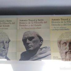 Livros em segunda mão: HISTORIA DE LA FILOSOFIA DEL DERECHO Y DEL ESTADO. ANTONIO TRUYOL Y SERRA. Lote 214495422