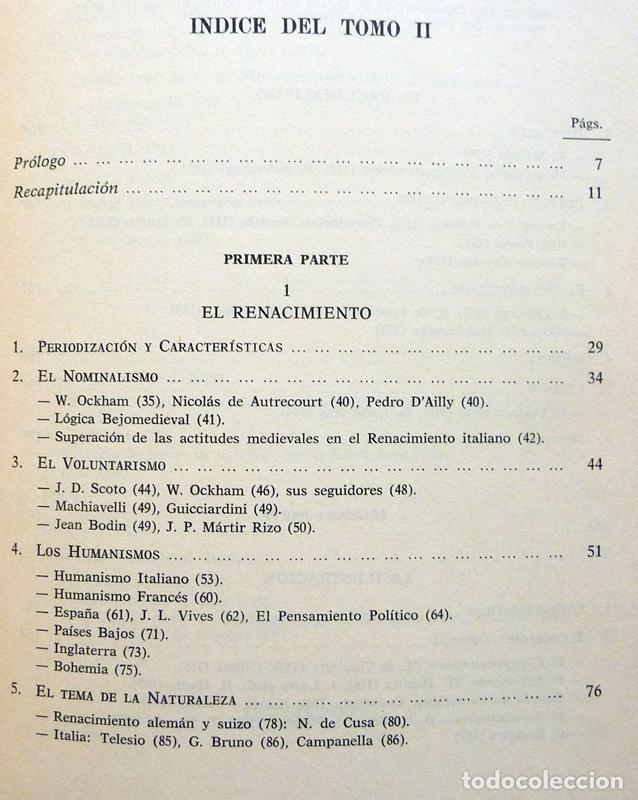 Libros de segunda mano: HISTORIA DE LA REFLEXIÓN, TOMO II: DE OCKHAM A LÉVI-STRAUSS - LUIS CENCILLO - 1972 - VER INDICE - Foto 3 - 216359521