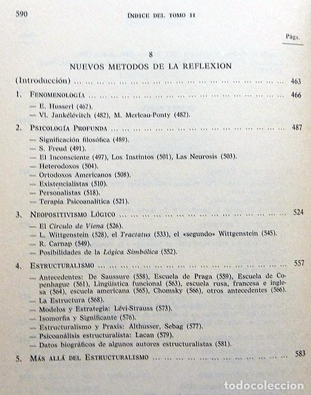 Libros de segunda mano: HISTORIA DE LA REFLEXIÓN, TOMO II: DE OCKHAM A LÉVI-STRAUSS - LUIS CENCILLO - 1972 - VER INDICE - Foto 8 - 216359521