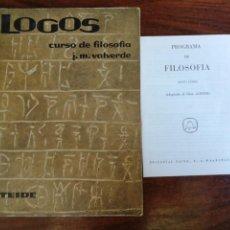 Libros de segunda mano: LOGOS CURSO DE FILOSOFÍA. J.M. VALVERDE, 1967. Lote 216784183