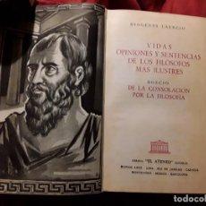 Libros de segunda mano: DIOGENES LAERCIO/BOECIO. EL ATENEO (ARGENTINA), 1959.. Lote 216824041