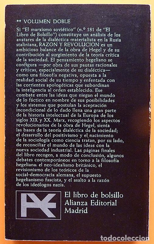 Libros de segunda mano: RAZÓN Y REVOLUCIÓN - HERBERT MARCUSE - ALIANZA EDITORIAL Nº 292 - 1972 - VER INDICE - Foto 3 - 217227411
