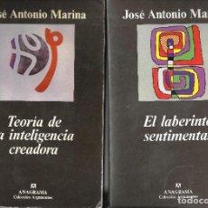 Libros de segunda mano: JOSÉ ANTONIO MARINA. EL LABERINTO SENTIMENTAL + TEORÍA DE LA INTELIGENCIA CREADORA. ANAGRAMA.. Lote 218155762