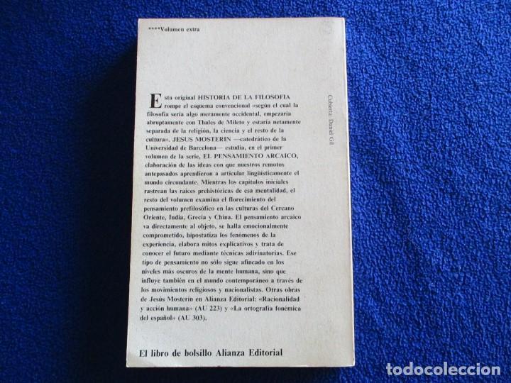 Libros de segunda mano: El Pensamiento Arcaico Jesús Mosterin Alianza Editorial 1983 Col. Historia de la Filosofia 1. - Foto 3 - 218510480