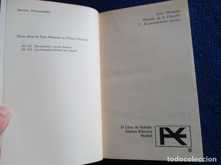 Libros de segunda mano: El Pensamiento Arcaico Jesús Mosterin Alianza Editorial 1983 Col. Historia de la Filosofia 1. - Foto 4 - 218510480