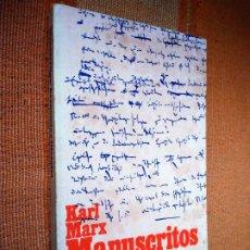 Livros em segunda mão: KARL MARX, MANUSCRITOS. ECONOMÍA Y FILOSOFÍA. ALIANZA EDITORIAL, 1969.. Lote 218532003