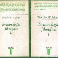 Libros de segunda mano: TERMINOLOGIA FILOSOFICA. I Y II. - ADORNO, THEODOR W.. Lote 218535340