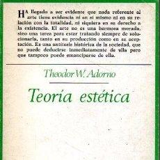 Libros de segunda mano: TEORIA ESTETICA. - ADORNO, THEODOR W.. Lote 218535346