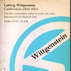 Libros de segunda mano: CONFERENCIA SOBRE ETICA. - WITTGENSTEIN, LUDWIG.. Lote 218535395
