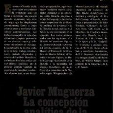 Libros de segunda mano: LA CONCEPCION ANALITICA DE LA FILOSOFIA. - MUGUERZA, JAVIER.. Lote 218535421