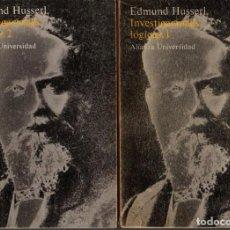 Libros de segunda mano: INVESTIGACIOES LOGICAS. 1 Y 2. - HUSSERL, EDMUND.. Lote 218535440