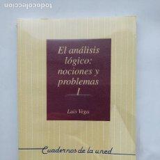 Libros de segunda mano: EL ANÁLISIS LÓGICO: NOCIONES Y PROBLEMAS I - INTRODUCCION FILOSOFIA DE LA LOGICA. LUIS VEGA. TDK538. Lote 221647968