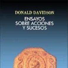 Libros de segunda mano: ENSAYOS SOBRE ACCIONES Y SUCESOS DONALD DAVIDSON. Lote 221650860