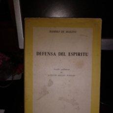 Livros em segunda mão: RAMIRO DE .MAEZTU. DEFENSA DEL ESPÍRITU. RIAÑO 1958 1A EDICION. INTONSO. Lote 222186430