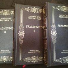 Libri di seconda mano: LOS FILÓSOFOS PRESOCRÁTICOS. FRAGMENTOS, I-II-III (EDICIÓN COMPLETA EN 3 TOMOS). Lote 223071542