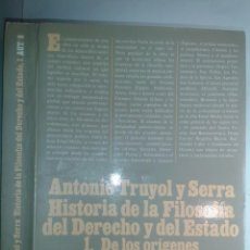 Libros de segunda mano: HISTORIA DE LA FILOSOFÍA DEL DERECHO Y DEL ESTADO 1 DE LOS ORÍGENES A LA BAJA EDAD MEDIA 1995 TRUYOL. Lote 229838775