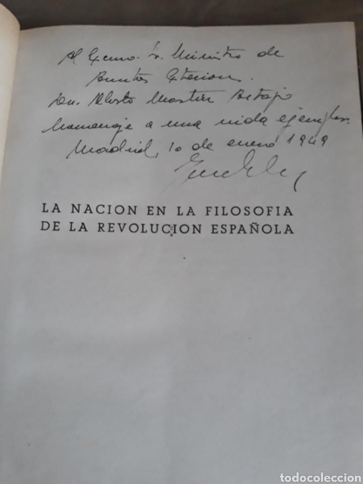 Libros de segunda mano: LA NACION EN LA FILOSOFÍA DE LA REVOLUCIÓN ESPAÑOLA. J .SOLAS .DEDICADO A MINISTRO DE AAEE M ARTAJO - Foto 2 - 230361865