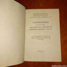 Libros de segunda mano: ILUSTRADO CON CARTAS MAPAS CONFERENCIAS PRONUNCIADAS CENTENARIO MARCELINO MÉNDEZ Y PELAYO 1956. Lote 234301190