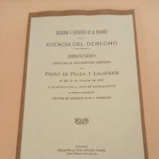 Libros de segunda mano: PEDRO DE PRADA Y LEGAREJOS 1901 NECESIDAD DE LA FILOSOFÍA EN LA CIENCIA DEL DERECHO VALLADOLID. Lote 237928240