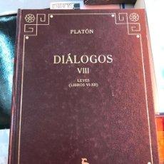 Libri di seconda mano: PLATÓN. DIÁLOGOS VIII. LAS LEYES.. Lote 238388165