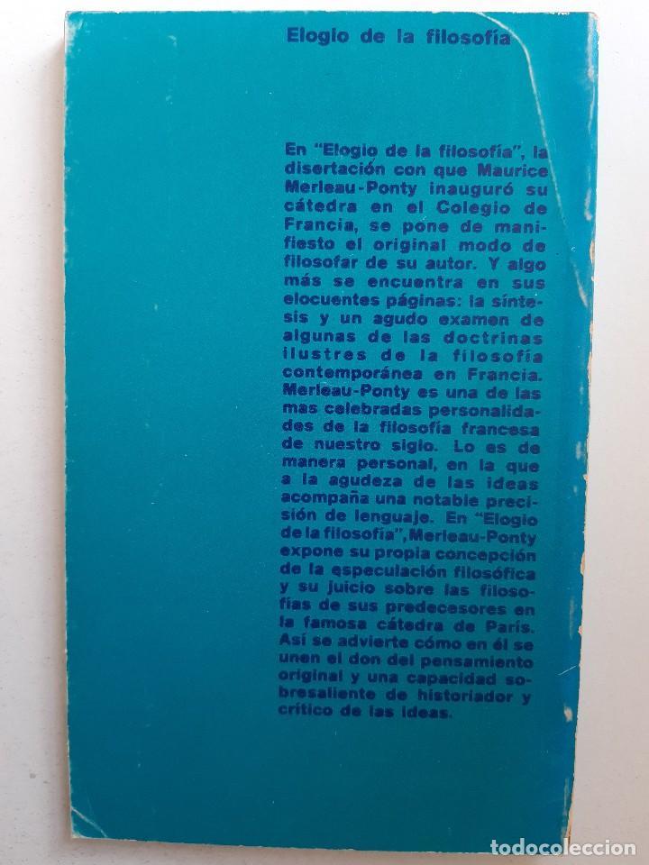 Libros de segunda mano: ELOGIO DE LA FILOSOFIA Maurice Merleau Ponty Buenos Aires 1970 - Foto 3 - 240337665
