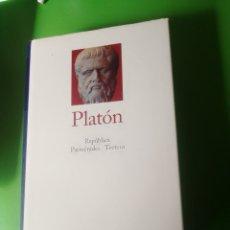 Libros de segunda mano: PLATÓN REPUBLICA, PARMENIDES, TEETETO. Lote 241681505