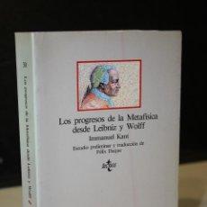 Libros de segunda mano: LOS PROGRESOS DE LA METAFÍSICA DESDE LEIBNIZ Y WOLFF.- KANT, IMMANUEL.. Lote 244584420
