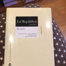 Libros de segunda mano: PLATON LA REPÚBLICA. Lote 249173735