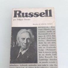 Libros de segunda mano: RUSSELL O LA PAZ EN LA VERDAD - PHILIPPE DEVAUX - FILÓSOFOS DE TODOS LOS TIEMPOS Nº 14 - EDAF. Lote 254978100