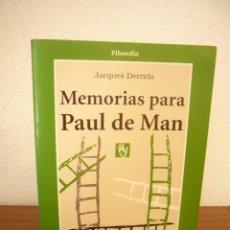 Libros de segunda mano: JACQUES DERRIDA: MEMORIAS PARA PAUL DE MAN (GEDISA, 1998). Lote 261980200
